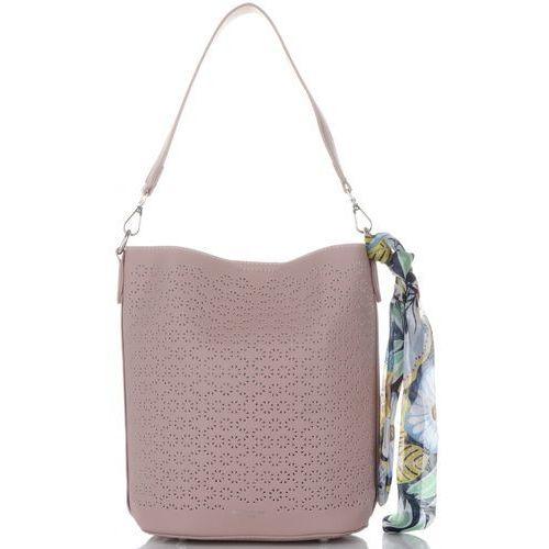 a59adc703c403 Modne ażurowe torebki damskie firmy z kosmetyczką i apaszką róż (kolory)  marki David jones 109,00 zł Designerska, popularna i bardzo damska - taka  jest ...