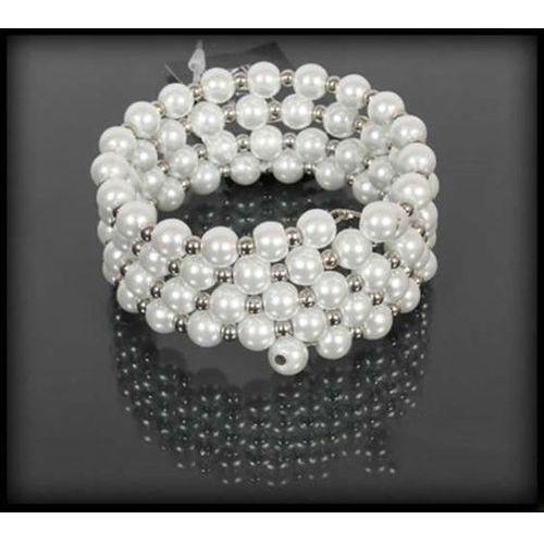 Szeroka bransoletka z białych pereł