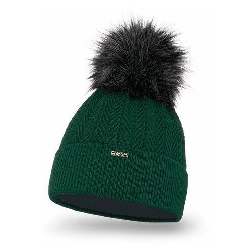 Pamami Zimowa czapka damska - butelkowa zieleń (5902934075794)