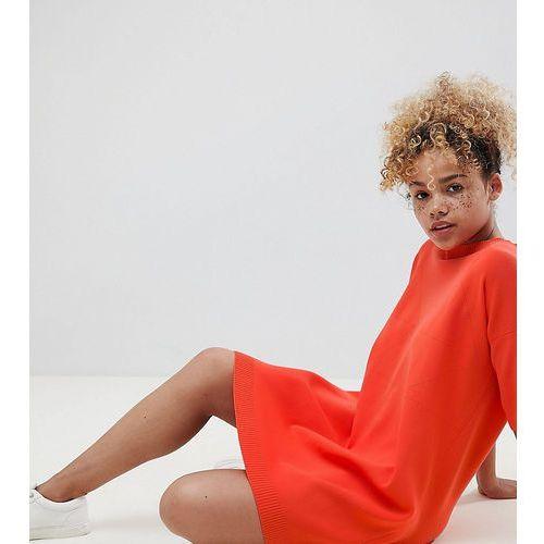 ASOS DESIGN Petite knitted t-shirt dress with pointelle stitch detail - Orange, kolor pomarańczowy