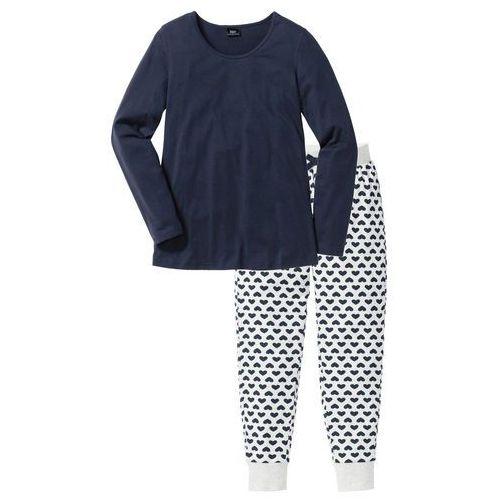 Piżama, bawełna organiczna naturalny melanż - ciemnoniebieski z nadrukiem, Bonprix, S-XXXXL