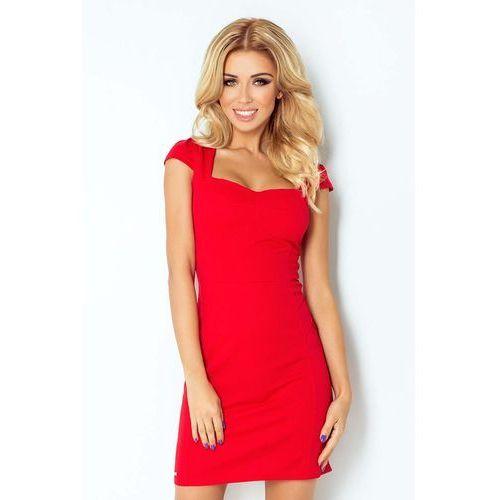 Numoco Czerwona sukienka z przeszyciami z mini rękawkiem
