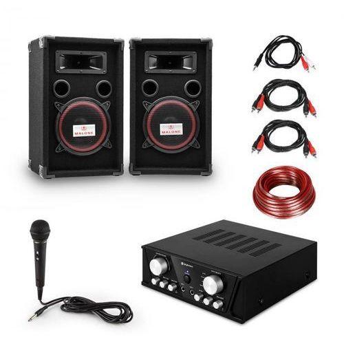 """Zestaw nagłośnieniowy """"Easy"""" DJ-Set black wzmacniacz PA 2 x głośnik mikrofon czarny"""