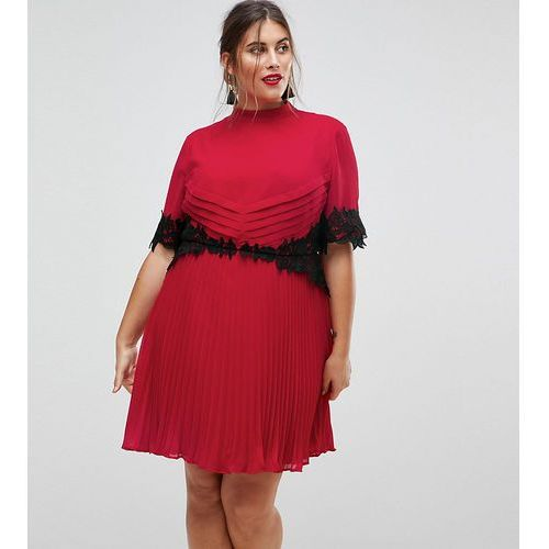 lace waist and cuff pleated mini dress - pink marki Asos curve