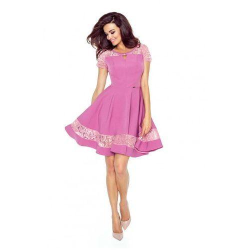 b042c98b06149b Różowa Sukienka Elegancka Rozkloszowana z Koronką 242,90 zł Materiał:  poliester 95% elastan 5%.przystępne wymiary: S (36), M (38), L (40), XL  (42).typy ...