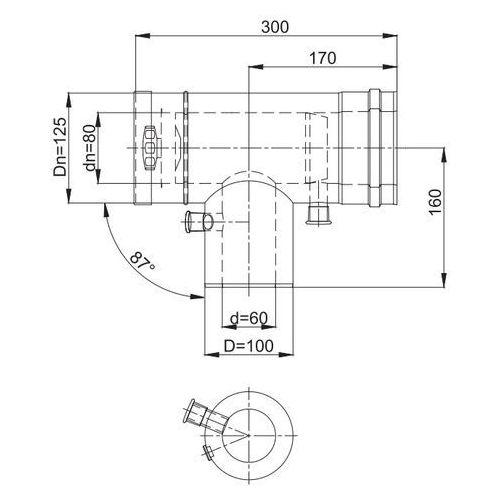 Trójnik rewizyjno-redukcyjny z odskraplaczem i króćcami pomiarowymi afkrm-r od ps 87° Ø60-100 , marki Mk żary