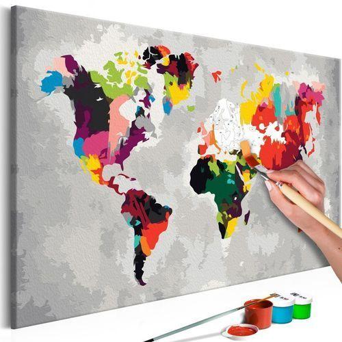 Artgeist Obraz do samodzielnego malowania - mapa świata (jaskrawe kolory)
