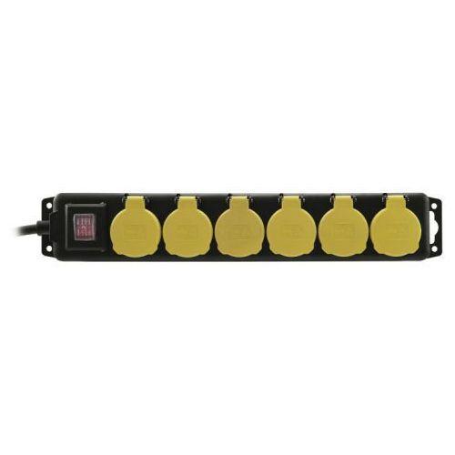 Eurolite Distributor 6-fold IP44 bk 1,5m - przedłużacz z listwą 6-gniazd IP44