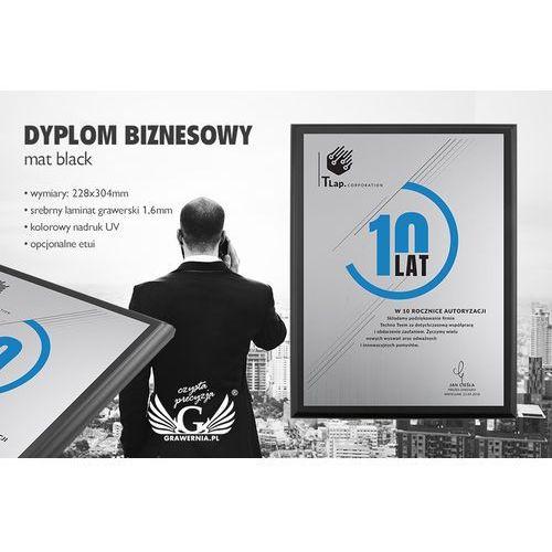 Grawernia.pl - grawerowanie i wycinanie laserem Dyplom biznesowy - srebrny laminat grawerski - podkład czarny mat - duv030