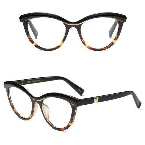 Okulary damskie kujonki zerówki czarne brąz - czarne brąz