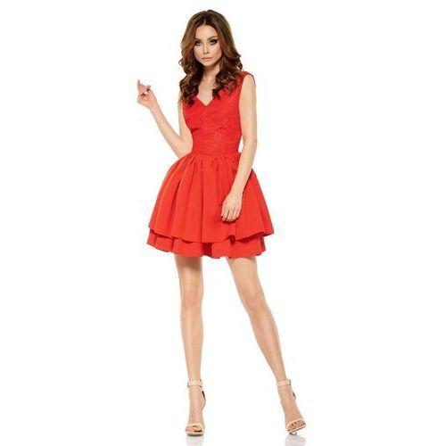 Czerwona wieczorowa sukienka z koronką z rozkloszowanym dołem, Lemoniade, 36-40