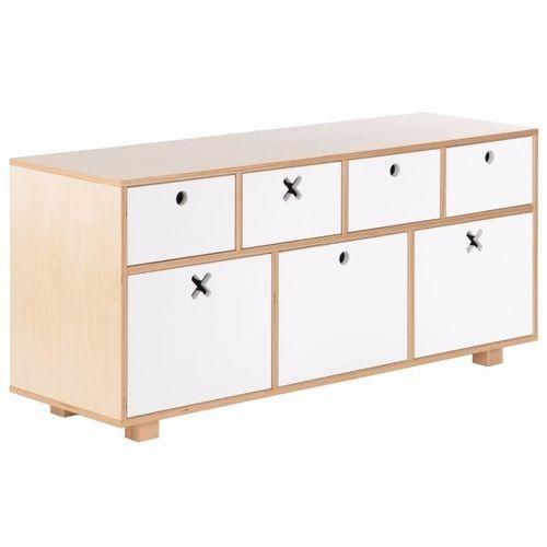 Durbas style drewniana komoda niska 120 x 40 biała marki Durbas-style