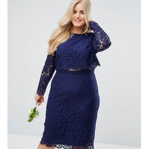 Asos curve wedding lace long sleeve midi pencil dress - navy
