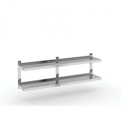 Podwójna półka ze stali nierdzewnej wieszana, 1500x300 mm