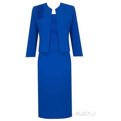 Kostium damski Izolda V, chabrowa komplet z eleganckiej tkaniny. - Izolda V - produkt z kategorii- garsonki i kostiumy