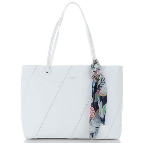 c2d271116ff13 David jones Modne torebki damskie xl z kosmetyczką i gustowną apaszką  wykonane z wysokiej jakości skóry ekologicznej marki białe (kolory) 139