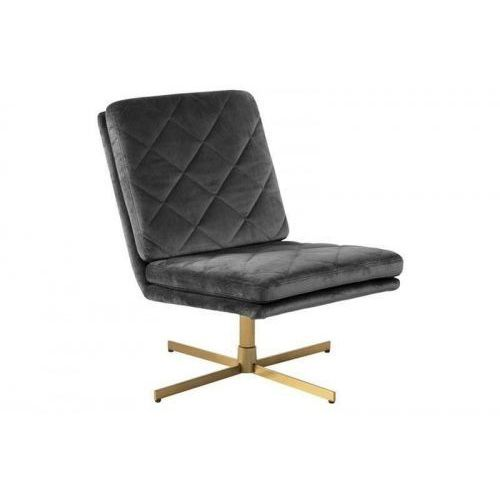Fotel obrotowy CARRERA ciemny szary - welur, złota podstawa ACTONA, kolor szary