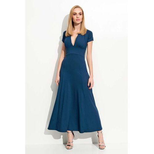 Granatowa Długa Sukienka z Głębokim Dekoltem, w 4 rozmiarach