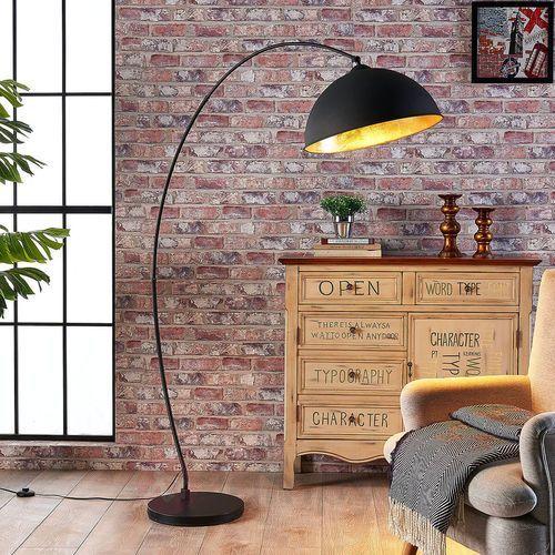 Łukowata lampa stojąca Jonera, czarno-złota (4251096529845)