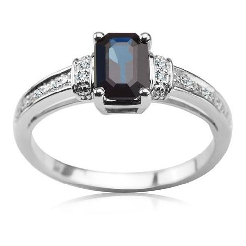 Pierścionek z szafirem i brylantami, pierścionek Biżuteria YES