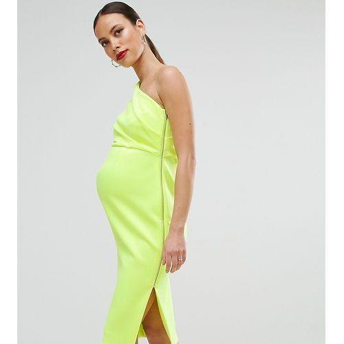ASOS Maternity One Shoulder Scuba Deep Fold Midi Dress with Exposed Zip - Yellow, kolor żółty