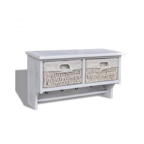 Drewniana półka ścienna z 2 szufladami i 4 haczykami (Biała) - sprawdź w VidaXL