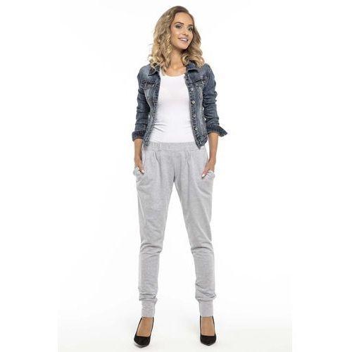 Sportowe jasnoszare spodnie ze ściągaczami marki Tessita