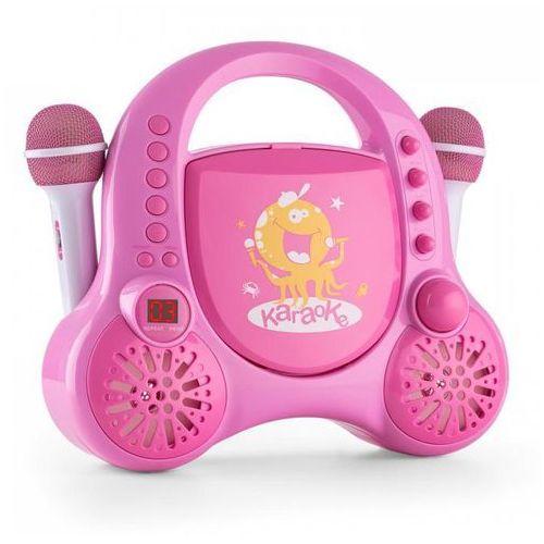 Rockpocket dziecięcy system karaoke cd aux 2 mikrofony, zestaw naklejek, różowy marki Auna