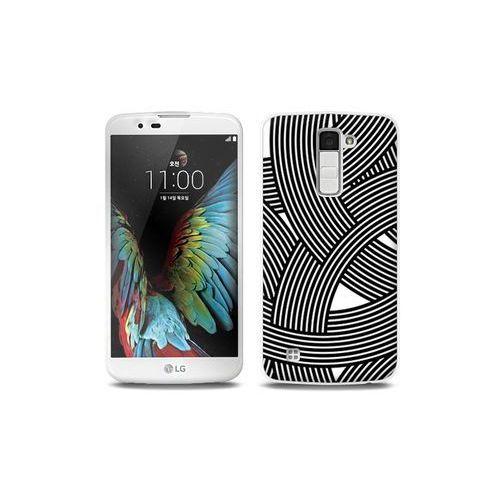 Lg k10 - etui na telefon full body slim fantastic - biało-czarna mozaika marki Etuo full body slim fantastic