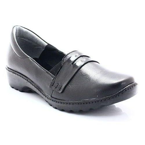 2771 czarny - buty skórzane kryjące haluksy - czarny, Maciejka