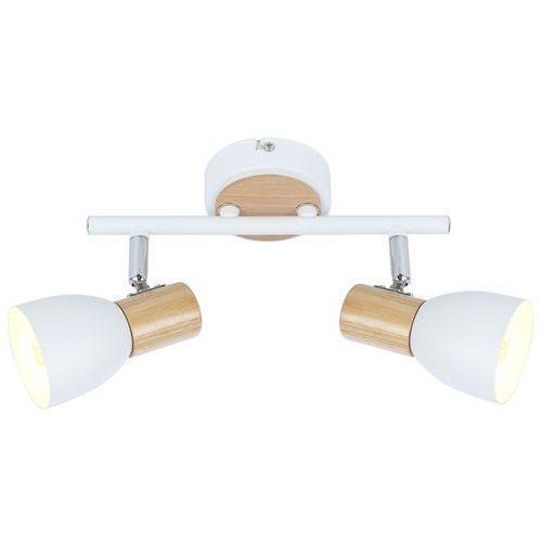 Listwa lampa sufitowa plafon spot Candellux Anabel 2 2x25W E14 biała / drewno 92-61676
