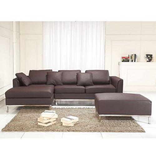 Sofa narożna P - skórzana - brązowa - sofa z pufą - kanapa OSLO (7081459898687)
