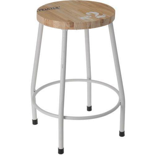Stołek, taboret - czteronożny, metalowy, kolor biały marki Home styling collection