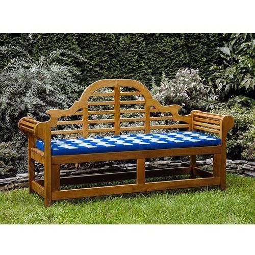 Beliani Ławka ogrodowa drewniana 180 cm poducha w niebiesko-białe zygzaki java marlboro (7105279797606)