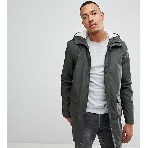 French Connection TALL Shine Fishtail Hooded Mac With Borg Lining - Green