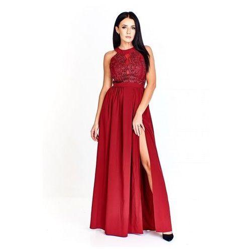 bc73a2d0b9 Wieczorowa sukienka maxi z koronkową górą urozmaiconą siateczkową siatką na  dekolcie
