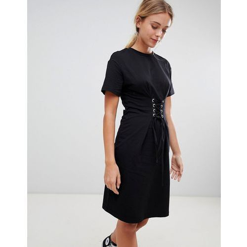 Glamorous midi dress with lace up detail - Black, kolor zielony