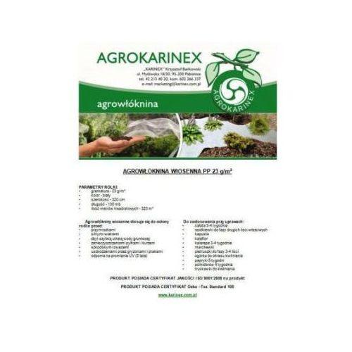 Agrowłóknina wiosenna PP 23 g/m2 biała 3,2 x 100 mb. Rolka o szer. 320 cm i wadze 8,46 kg. - produkt z kategorii- folie i agrowłókniny