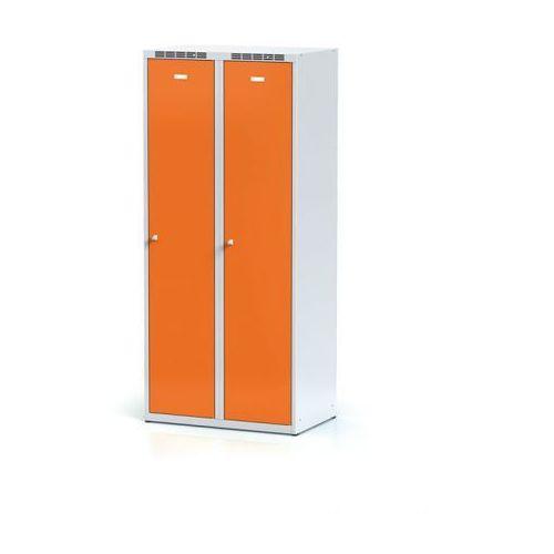 Metalowa szafka ubraniowa z przegrodą, pomarańczowe drzwi, zamek obrotowy