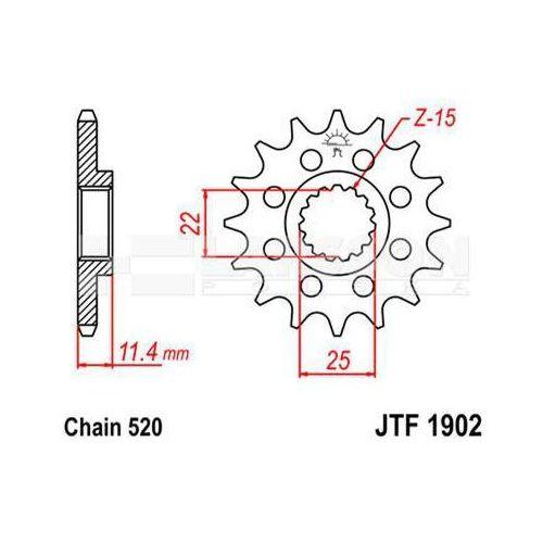 Zębatka przednia JT F1902-14, 14Z, rozmiar 520 2200834 KTM Duke 690, Duke II 640