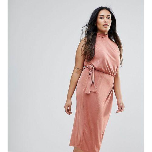 ASOS CURVE High Neck Tie Side Midi Bodycon Dress - Pink, kolor różowy