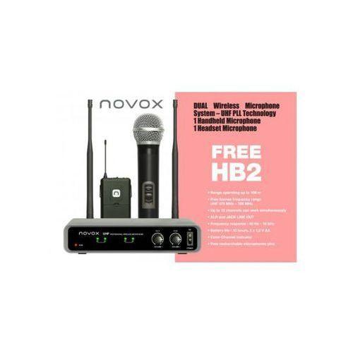 Novox free hb2 mikrofon bezprzewodowy podwójny, doręczny + nagłowny