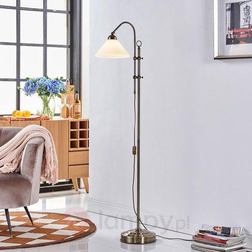 Piękna lampa stojąca otis w kol. post. mosiądzu marki Lampenwelt