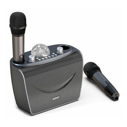 Dudao zestaw do karaoke bluetooth 2x mikrofon + bezprzewodowy głośnik z oświetleniem DISCO czarny (Y15 black)