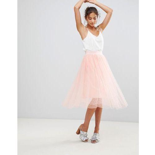 tulle bead midi skirt - pink marki New look