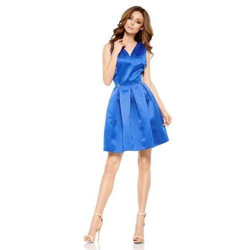 10ca99148e Chabrowa połyskliwa wieczorowa sukienka szerokim dołem marki Lemoniade  159