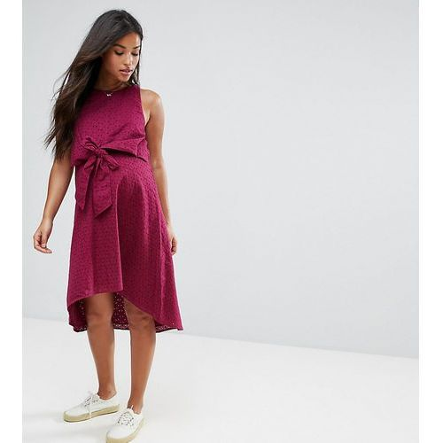 ASOS Maternity NURSING Knot Front Dress in Broderie - Red, kolor czerwony