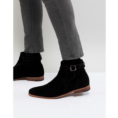 ASOS Chelsea Boots In Black Suede With Strap Detail And Natural Sole - Black