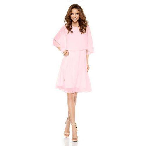 Różowa Elegancka Wieczorowa Sukienka z Narzutką, kolor różowy