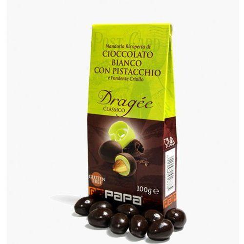 Papa classico migdały w bialej czekoladzie pistacjowej i gorkiej czekoladzie criollo 100 g